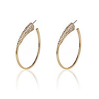Gold tone pave oval hoop earrings