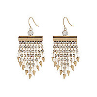 Gold tone diamante spike statement earrings