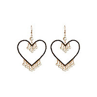Black diamante heart dangle earrings