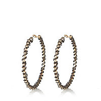 Gold tone wrapped chain hoop earrings