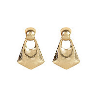 Gold tone textured statement earrings