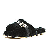 Black faux fur mule slippers