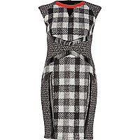 Black check panel cut out pencil dress