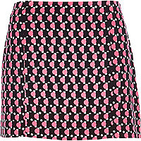 Black Chelsea Girl fluro geometric mini skirt