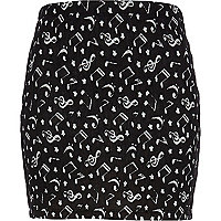 Black Chelsea Girl note print mini tube skirt