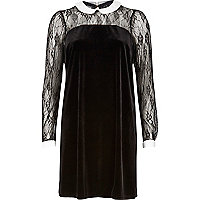 Black Lslv Velvet Collar Shift Dress