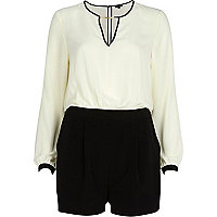 Black and white cut out blouse playsuit