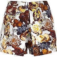 Cream floral print split front skort
