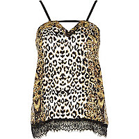 Brown leopard print pyjama cami top