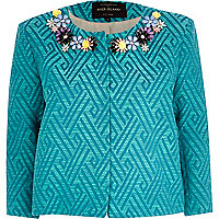 Teal geometric floral trim boxy jacket