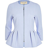 Light blue textured jersey peplum jacket