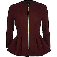 Dark red textured jersey peplum jacket