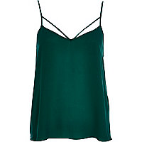 Dark green strappy cami top
