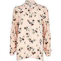 Light pink floral print shirt