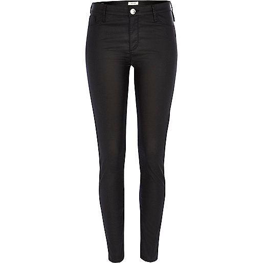 Black coated leather-look Molly jeggings