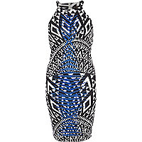 Blue aztec print racer front bodycon dress