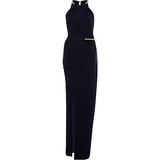 Dark blue necklace trim maxi dress