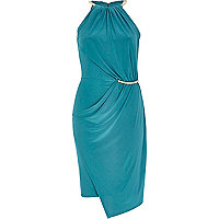 Teal necklace trim bodycon dress