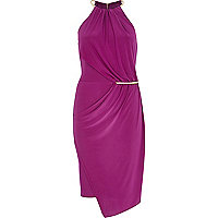 Purple necklace trim bodycon dress