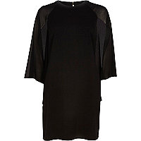 Black chiffon cape sleeve shift dress