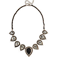 Black teardrop repeat woven necklace