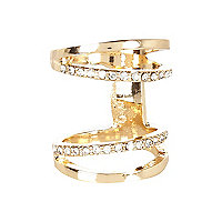 Gold tone diamante knuckle ring
