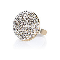 Gold tone encrusted dome ring