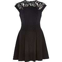 Black lace yoke skater dress