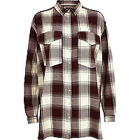 Dark red check oversized shirt