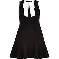 Black pussybow drop hem dress