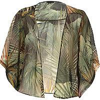 Green palm tree print boxy kimono