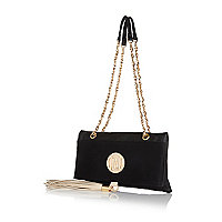 Black fold over chain strap bag