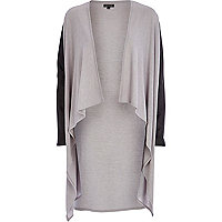 Grey leather-look sleeve waterfall cardigan