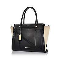 Black shearling panel winged tote bag