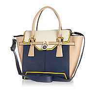 Navy colour block winged tote bag