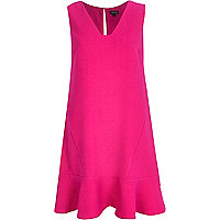 Pink V neck drop waist dress