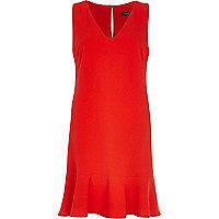 Red V-neck drop waist dress