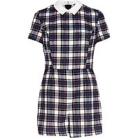 Blue Chelsea Girl tartan playsuit