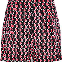 Black Chelsea Girl fluro geometric shorts