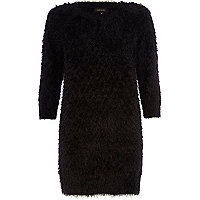 Black fluffy knitted dress