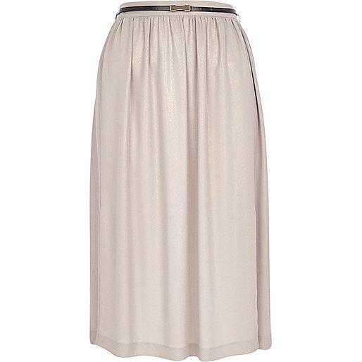 Gold shimmer midi skirt