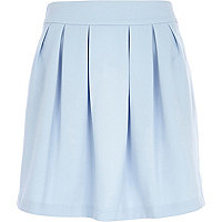 Light blue box pleat mini skirt