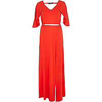 Red cape sleeve maxi dress