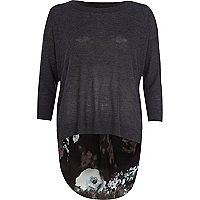Dark grey floral woven back jumper