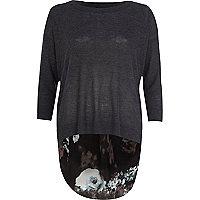Dark grey floral woven back jumper