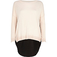 Light pink woven back jumper