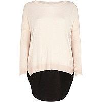 Light pink woven back jumper