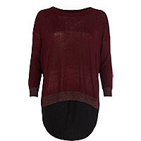 Dark red woven back jumper