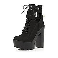 Black lace up platform boots