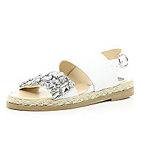 White embellished espadrille sandals